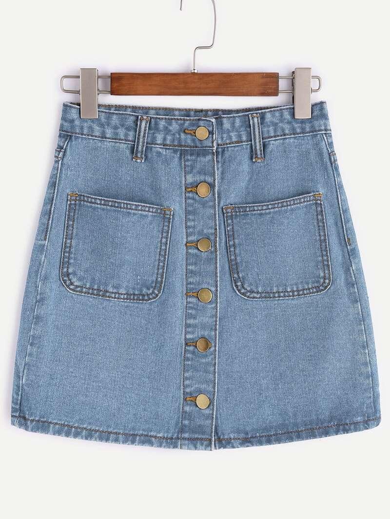 4d84294ae Jupe en jean avec rangée de boutons