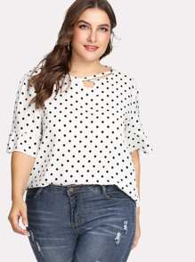 Plus Ruffle Sleeve Spot Blouse