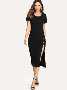 Split Hem Ribbed Dress SHEIN