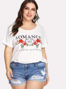 letter & florals print tee
