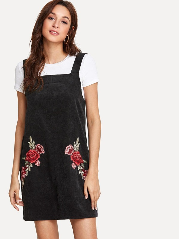 69ed9a83ae0ce Flower Embroidery Applique Overall Dress