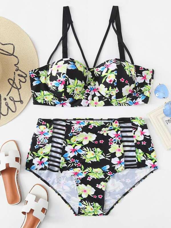 e662df1fc05 Plus Flower Print Top With Ladder Cut Out Bikini Set | SHEIN