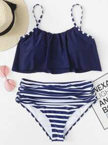 Plus Cami Top With Striped Ruched Bikini Set
