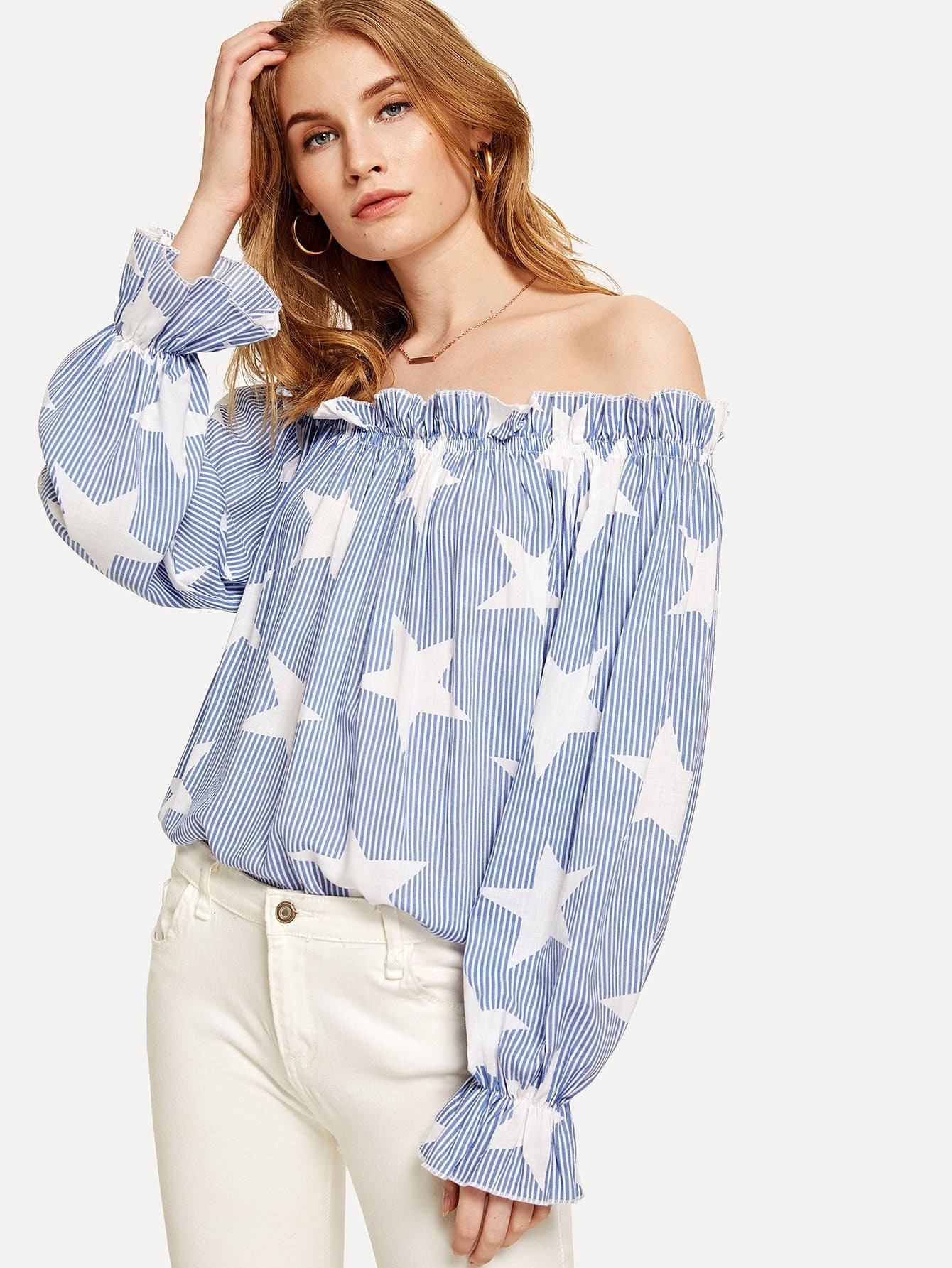 63d025d59ac71 Off Shoulder Frill Trim Striped Top EmmaCloth-Women Fast Fashion Online