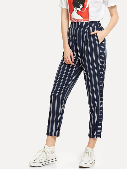 Pocket Side Striped Pants