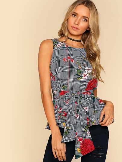 Self Belted Floral And Plaid Shell Top
