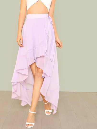 Knot Side Asymmetric Ruffle Wrap Skirt