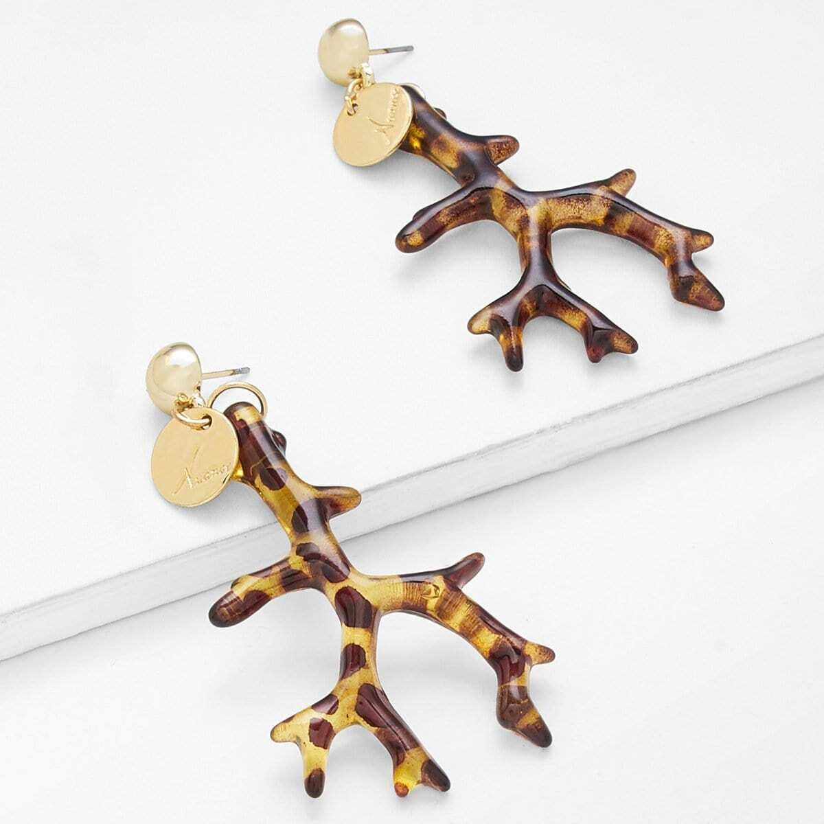 - Leopard Branch Drop Earrings