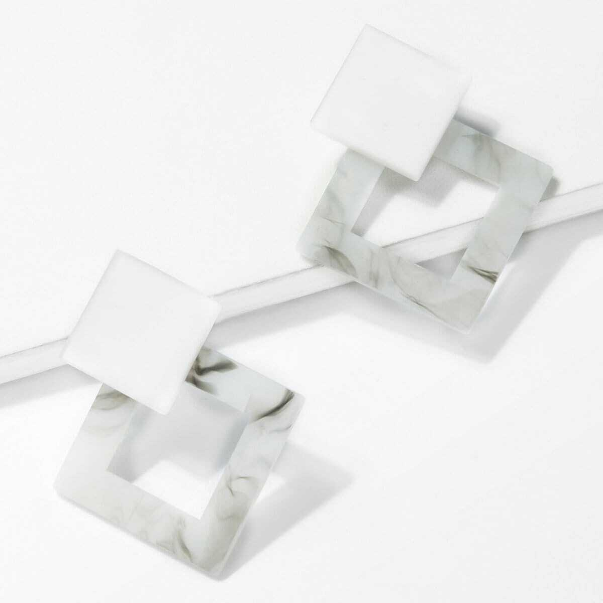 - Marble Pattern Open Drop Earrings
