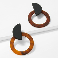 - Marble Pattern Hoop Earrings