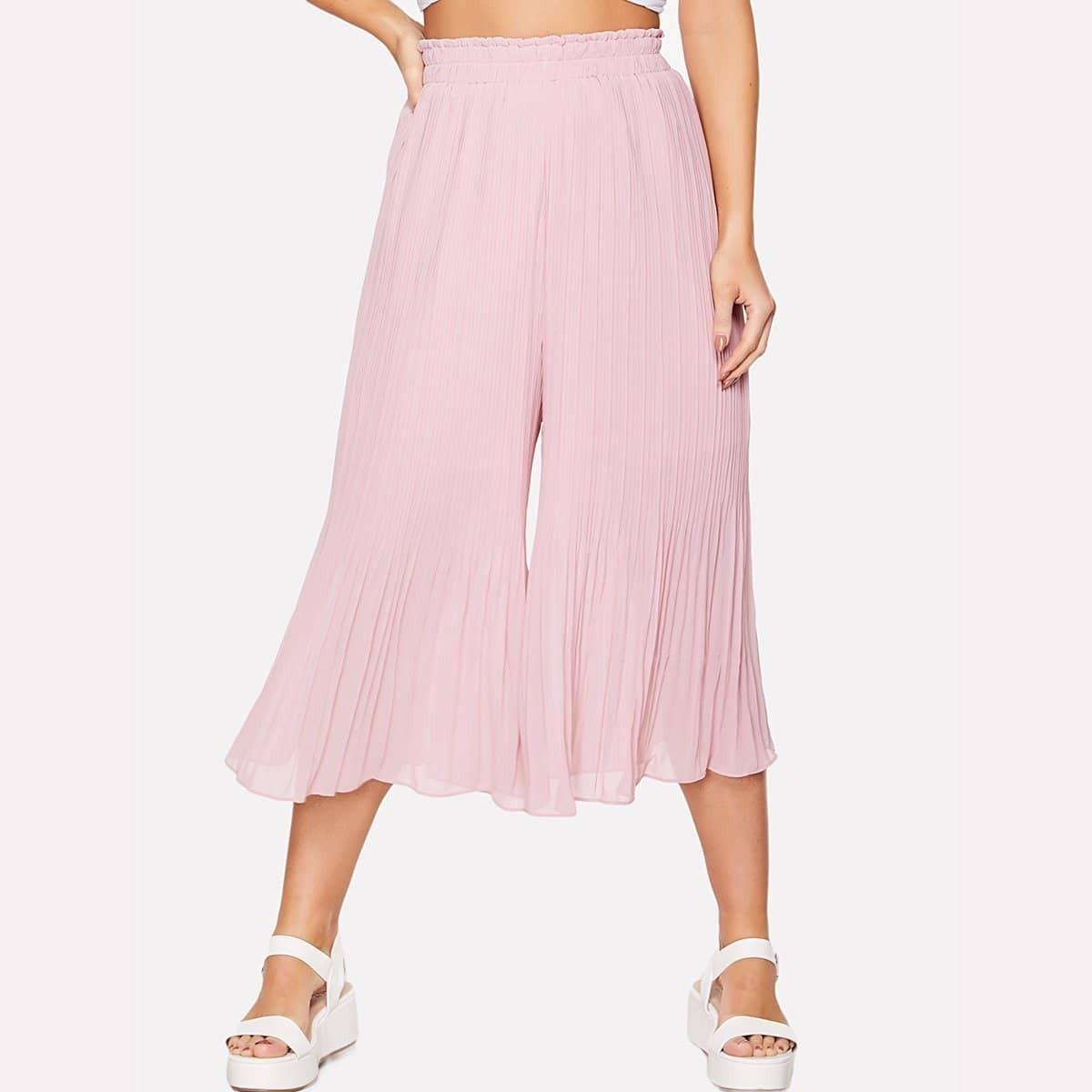 - Elastic Waist Pleated Culotte Pants