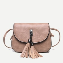 Tassel Decor Flap Saddle Bag