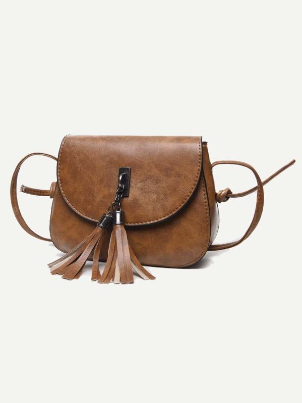 2b7b9ec97a Tassel Decor Flap Saddle Bag