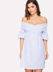 Cross Wrap Shirred Off Shoulder Dress