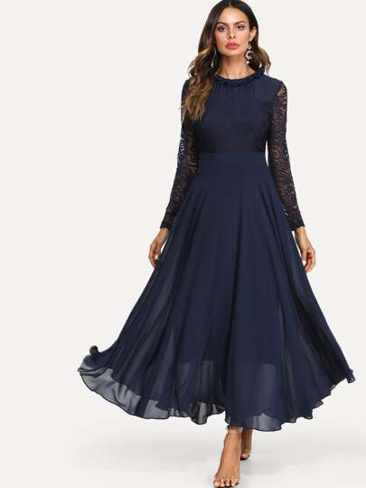 10b5388d11 Lace Top Maxi Flowy From Dress | SHEIN UK