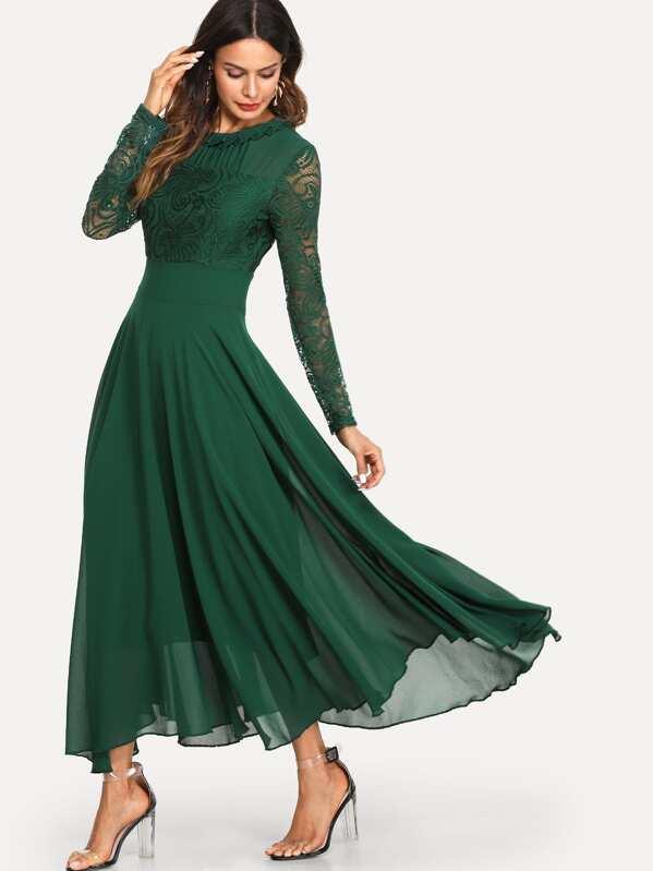 9ede336aab876 Lace Panel Sleeve Pleated Dress | SHEIN UK