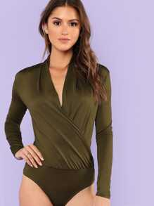 Solid Surplice Wrap Bodysuit