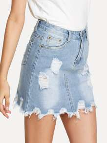 Bleach Wash Ripped Denim SKirt