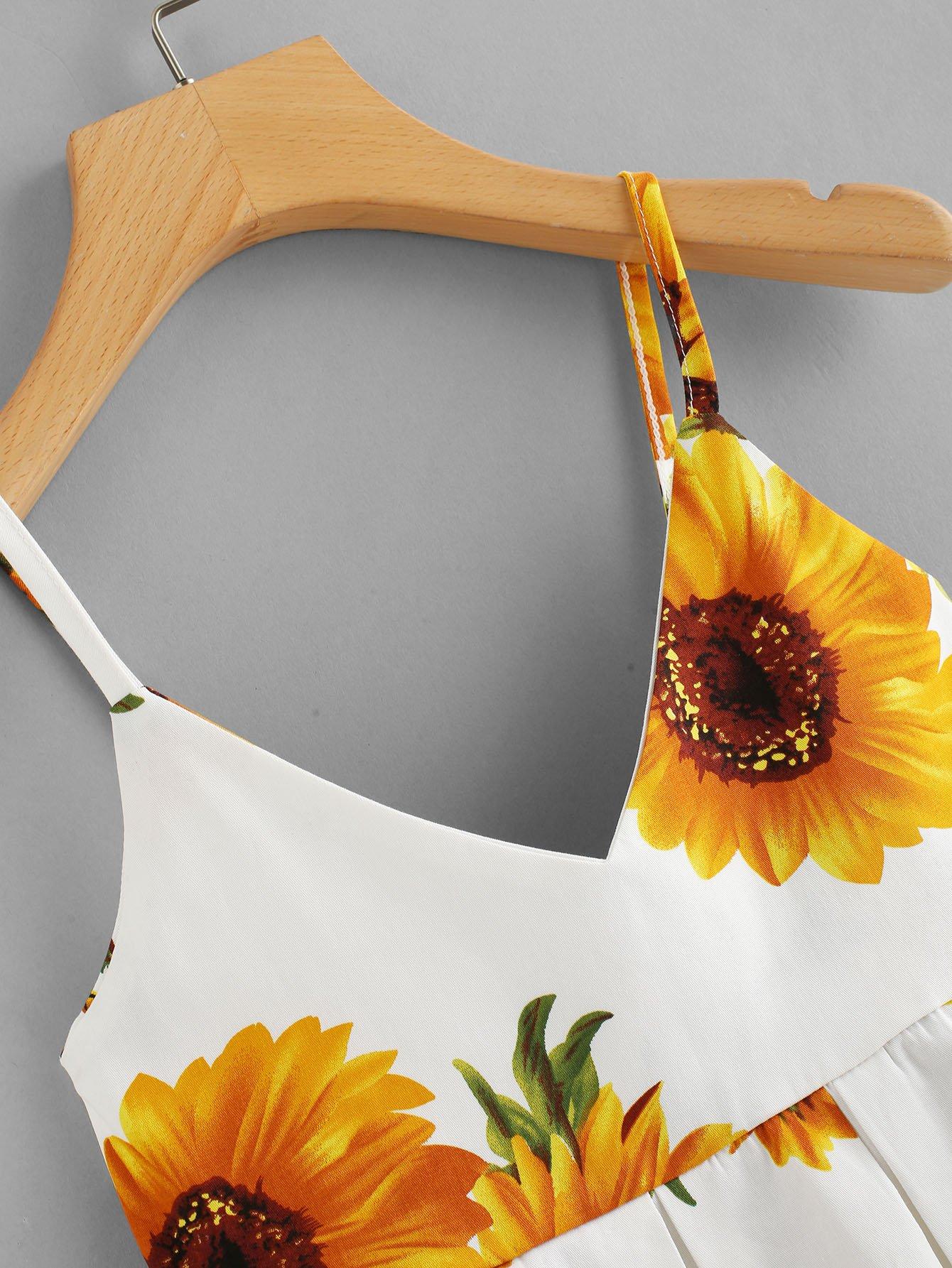 Camisole mit Blumenmuster und Plissee - German romwe