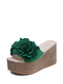 Floral Applique Espadrille Wedge Sandals