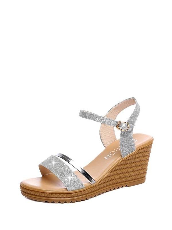 Wedge Sandals Strap Glitter Glitter Ankle Strap Strap Wedge Ankle Ankle Wedge Sandals Glitter SpVqzMU