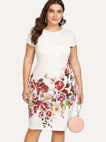 Plus Floral Print Pencil Dress