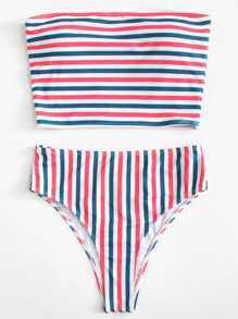 Striped Bandeau Top With High Waist Bikini Set