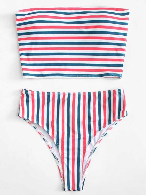 650f1c68abcd6 Striped Bandeau Top With High Waist Bikini Set   SHEIN