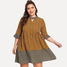 Plus Geometric Print Colorblock Dress