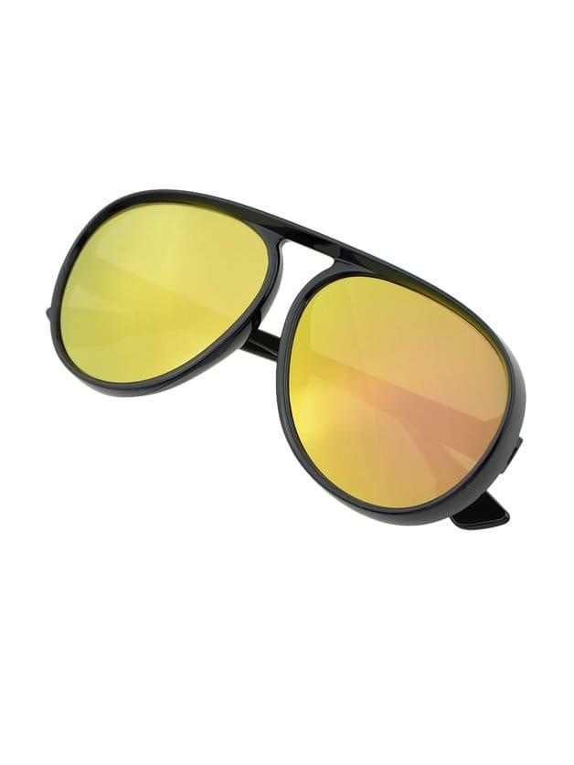 Gafas de sol laterales gruesas de marco grueso de oro-Spanish Romwe