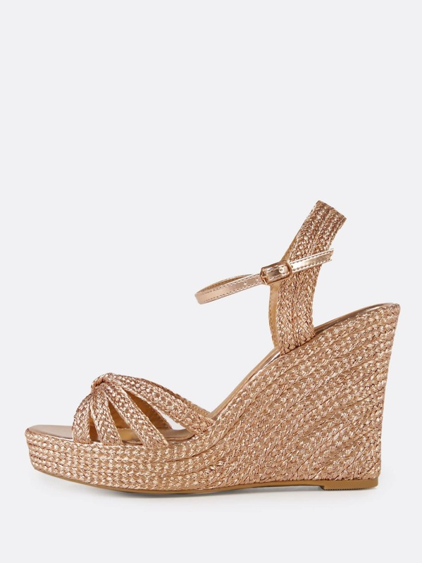 fbe2ee951 Metallic Espadrille Platform Wedge Sandal with Knotted Band ROSE GOLD |  SHEIN UK