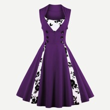 Contrast Panel Double Breasted Circle Dress