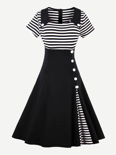 Contrast Striped Button Detail Flare Dress
