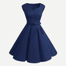 V Neckline Flare Dress With Belt