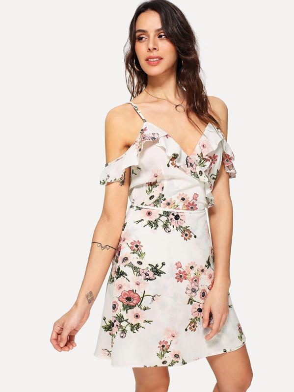 0591381cf Ruffle V Neck Floral Wrap Cami Dress