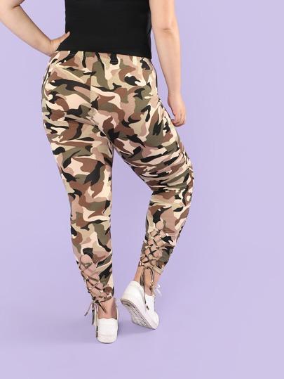 c1a389c229cdf Plus Camo Print Lace Up Hem Leggings   SHEIN