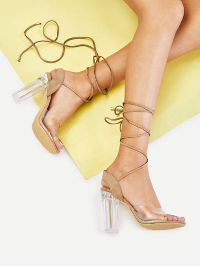Clear Detail Strappy Block Heels