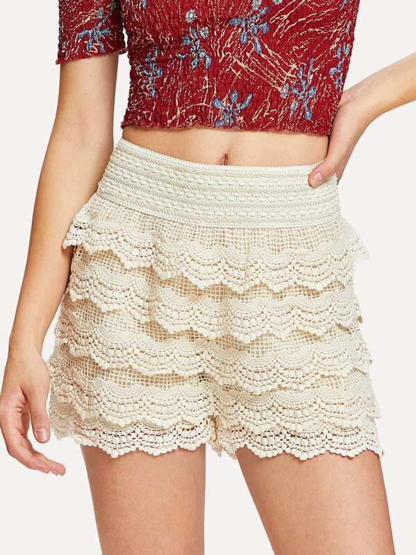 Tiered Crochet Lace Shorts Shein Uk