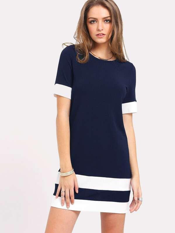 7c1636f8160d Vestido recto de manga corta de rayas de color block
