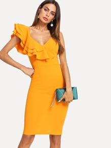 One Shoulder Tiered Flounce Slit Back Dress