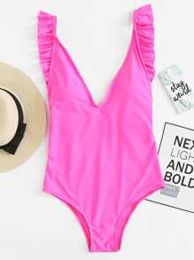 Neon Pink Ruffle Detail Open Back One Piece Swimsuit