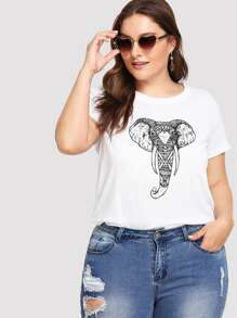Plus Ornate Elephant Print Tee