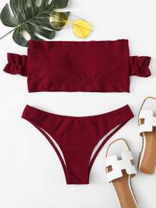 Off The Shoulder Lettuce Trim Top With Hipster Bikini
