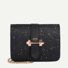 Buckle Decor Glitter Chain Bag