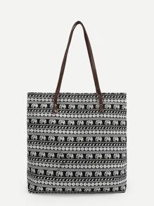 Tribal Print Tote Bag With Elephant Pattern bag180322381