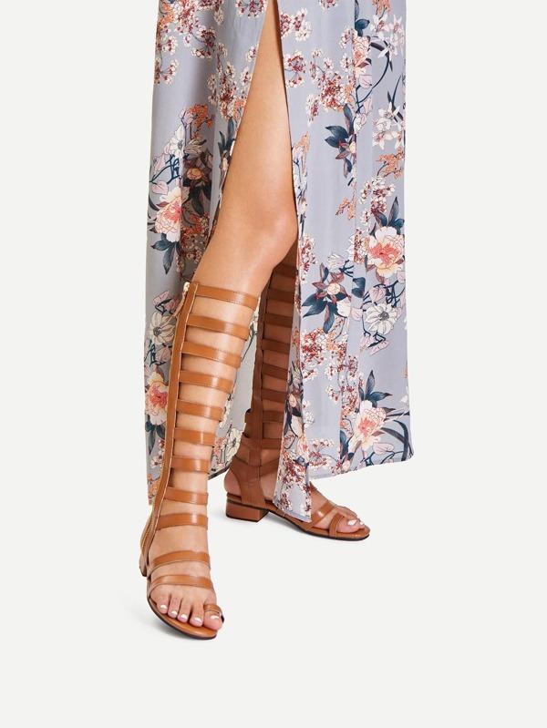 Zip Side Knee High Gladiator Sandals