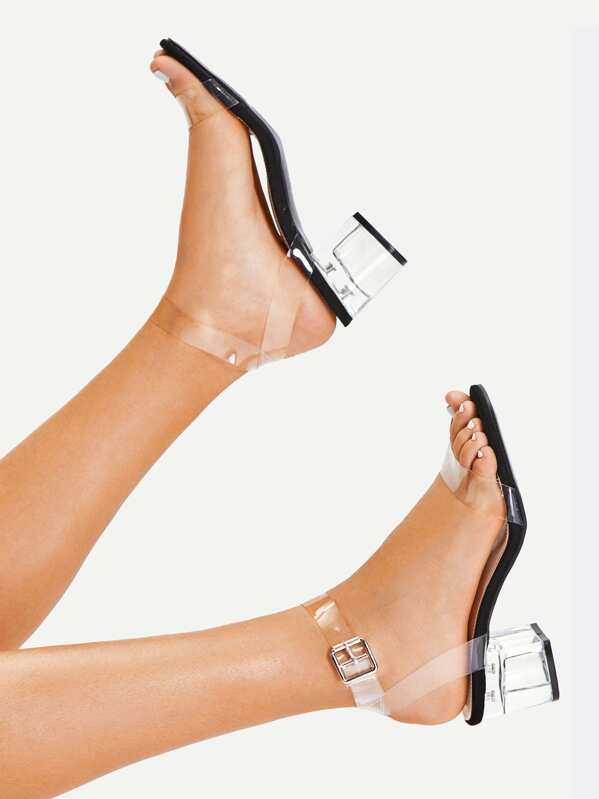 Strap Heeled Nkxwo08np Block Clear Sandals 35Lqc4AjR