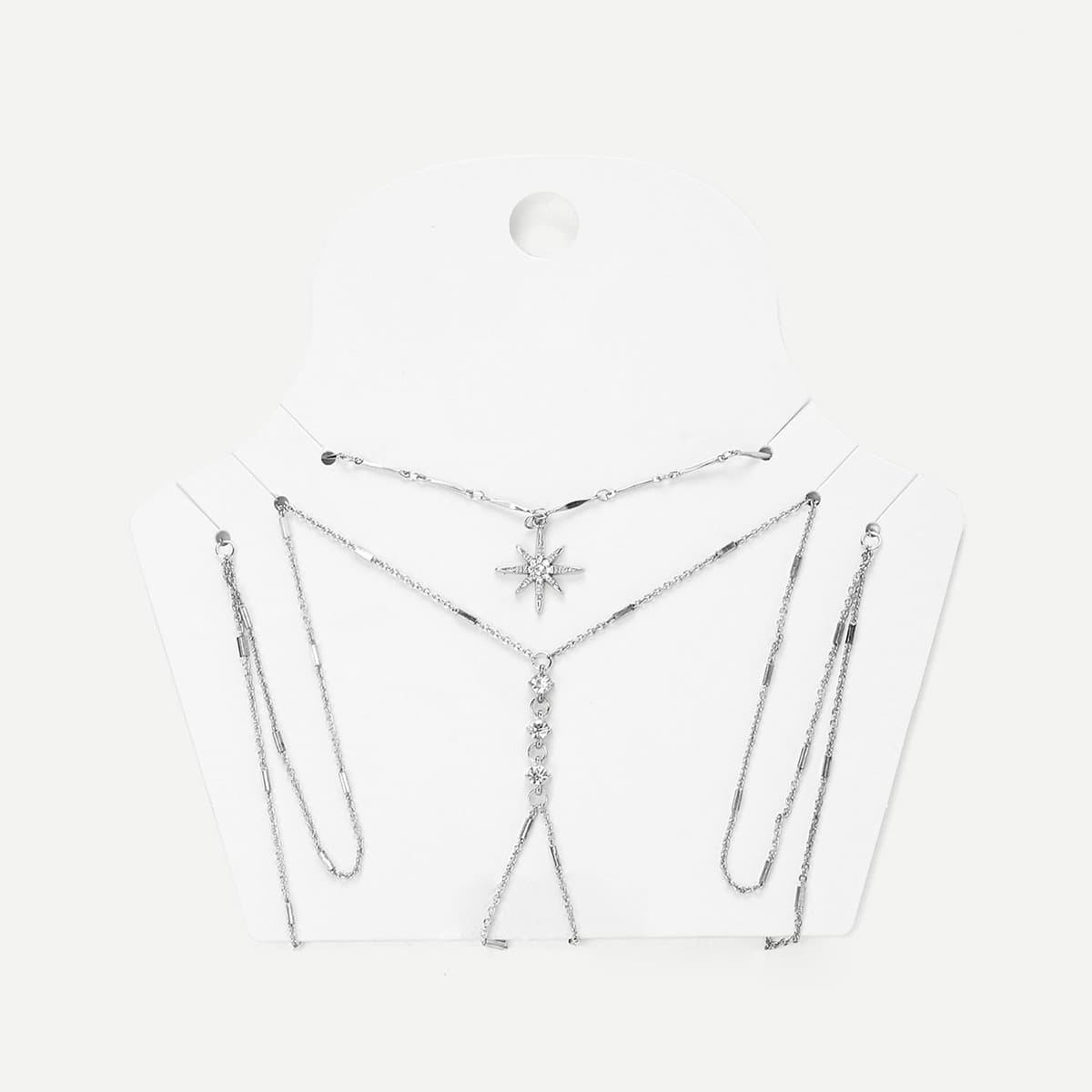 - Rhinestone Detail Chain Body Harness With Necklace