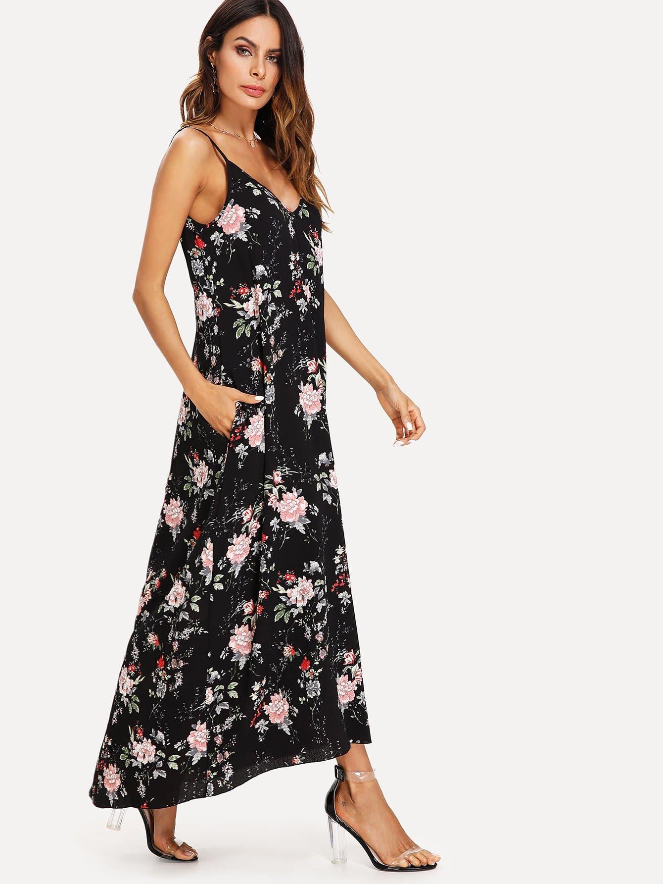 7f1c57acfb3 Double V Neck Floral Slip Cami Dress | SHEIN UK