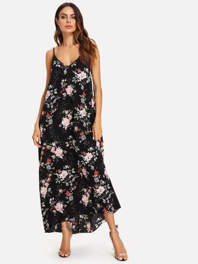 5436892ad54 Robe à fines brides avec imprimé floral et col V